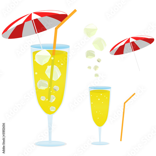 yellow lemon soda with a little red umbrella