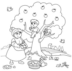 Bambino sull'albero e mamma che raccoglie di mele