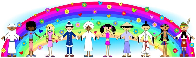 Bambini Pace Arcobaleno Banner-Children Rainbow Peace-Vector