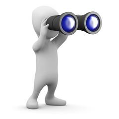 3d Little man looks to the horizon with binoculars