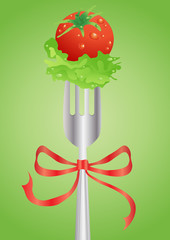 stock-vector-fresh-red-tomato-and-salad-on-a-fork-with-ribbon