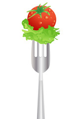 stock-vector-fresh-red-tomato-and-salad-on-a-fork
