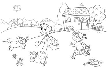 Bambini che giocano in giardino coi cani