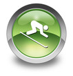 "Green Glossy Pictogram ""Downhill Skiing"""