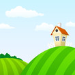 Cartoon nature landscape with house