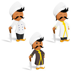 Set of cartoon indian cook chef with moustache