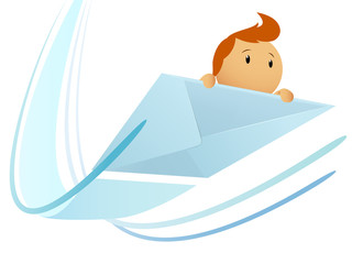 Cartoon flying envelop with character