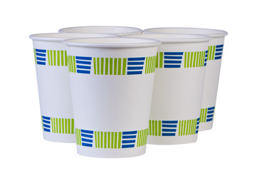Paper disposable coffee cups isolated.