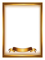 golden frame with ribbon vector