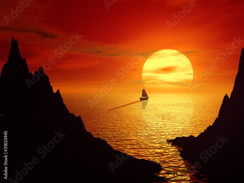 Sunset and sailboat in sea 3d landscape