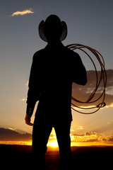 Cowboy silhouette rope shoulder