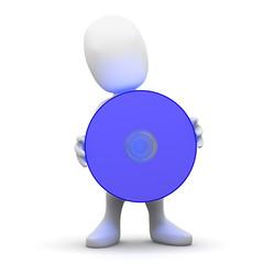 3d Little man holds an HD DVD