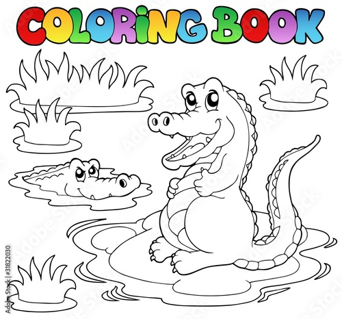Coloring book with two crocodiles