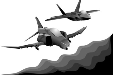 two military aircraft