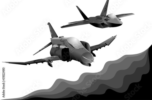 Foto op Aluminium Militair two military aircraft