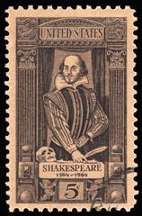 USA vintage postage stamp William Shakespeare