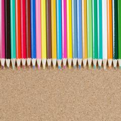 Colour pencils on corkboard