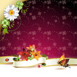 Floral background with ribbon, flowers and butterflies