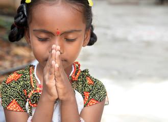 Indian Village  Little Girl Praying