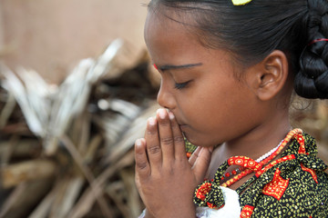 Indian Village  Little Girl Praying