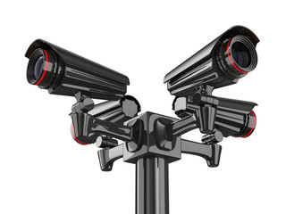 Four security camera on white background. Isolated 3D image