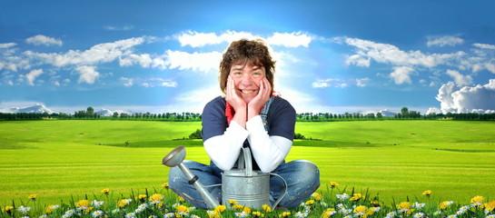 Frau auf einer Blumenwiese