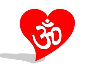 Aum / om in a heart