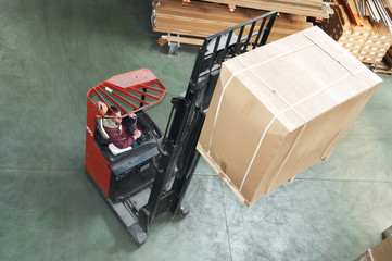 warehouse stacker at work