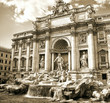 Trevi Fountain, sepia toned picture