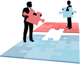 Business people puzzle piece solution collaboration merger poster
