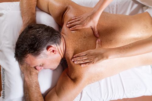 overhead view of mature man having massage