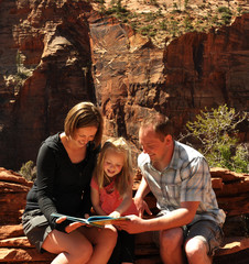 Family Reading in Zion National Park Utah