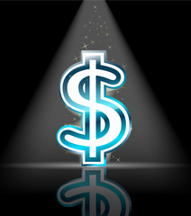 blue glossy dollar sign with spot light and little star
