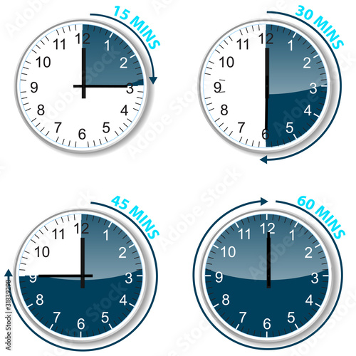 set of blue timer 15 30 45 and 60 minutes