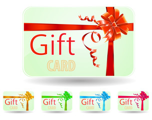 set of green gift card with luxury ribbon