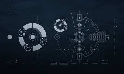 drawing mechanism on a dark background. blueprint