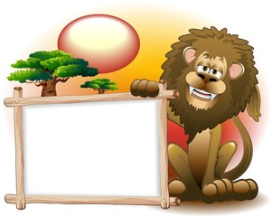 Leone Cartoon con Pannello-Lion with Panel Background-Vector