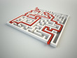 Maze illustration - finding the solution concept