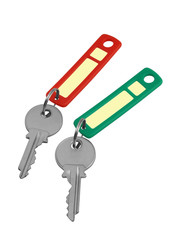 Two keys with red and green labels on a white background