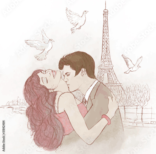 Papiers peints Peint Paris couple kissing in Paris