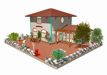 Casa di Campagna-Rustico-Ostello-Country House-3d