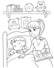 Bambino addormentato con la mamma