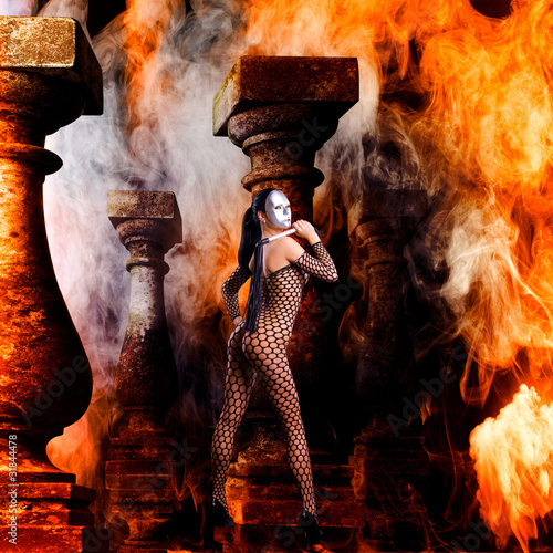 beautiful erotic artwork of a women in flames