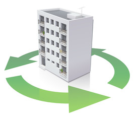Immeuble et recyclage (reflet)