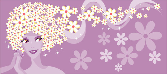 Beauty chamomile girl  banner
