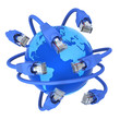 Blue network cables - global data traffic