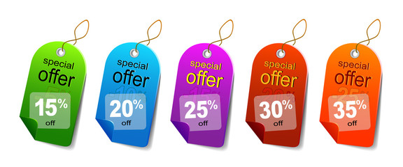 Multicolored sale labels
