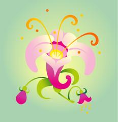 Vector illustration. Beauty flower.