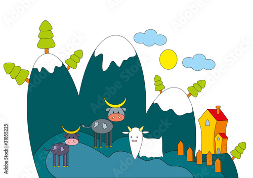 Vector illustration. Farm animals.