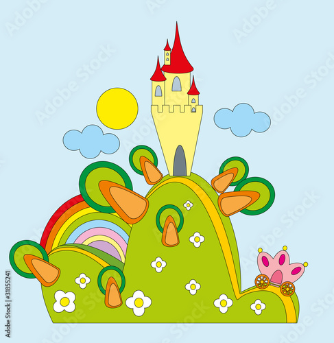 Vector illustration. Castle on green hill.